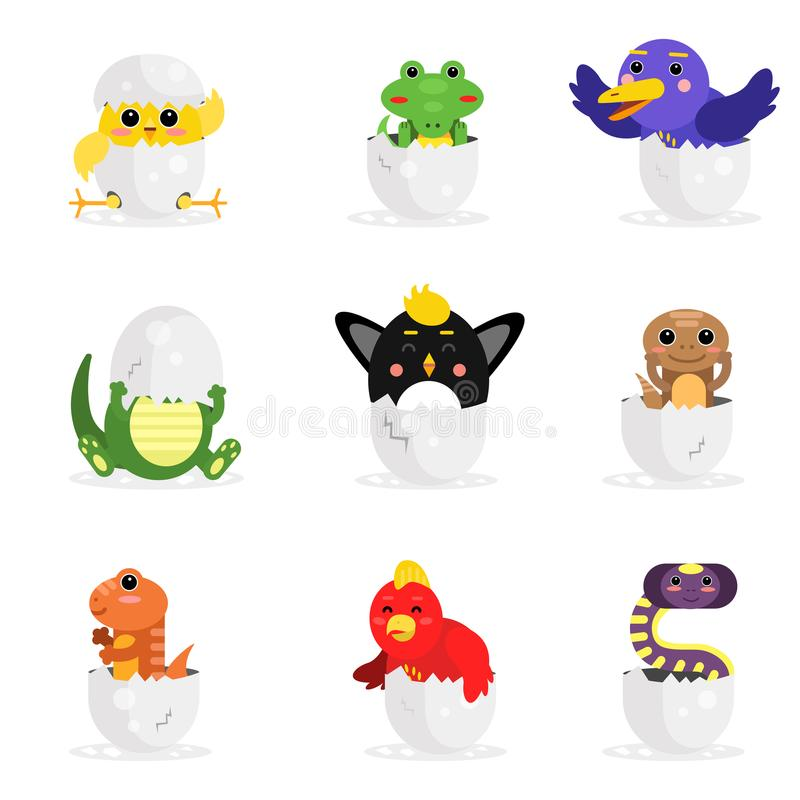 Cute adorable colorful newborn animal characters set, funny reptile and birds in egg shell cartoon Illustration stock illustration