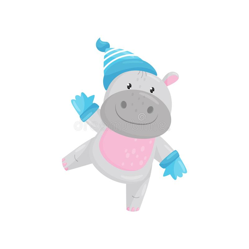 Cute adorable hippo wearing blue knitted hat and gloves, lovely behemoth animal cartoon character vector Illustration royalty free illustration