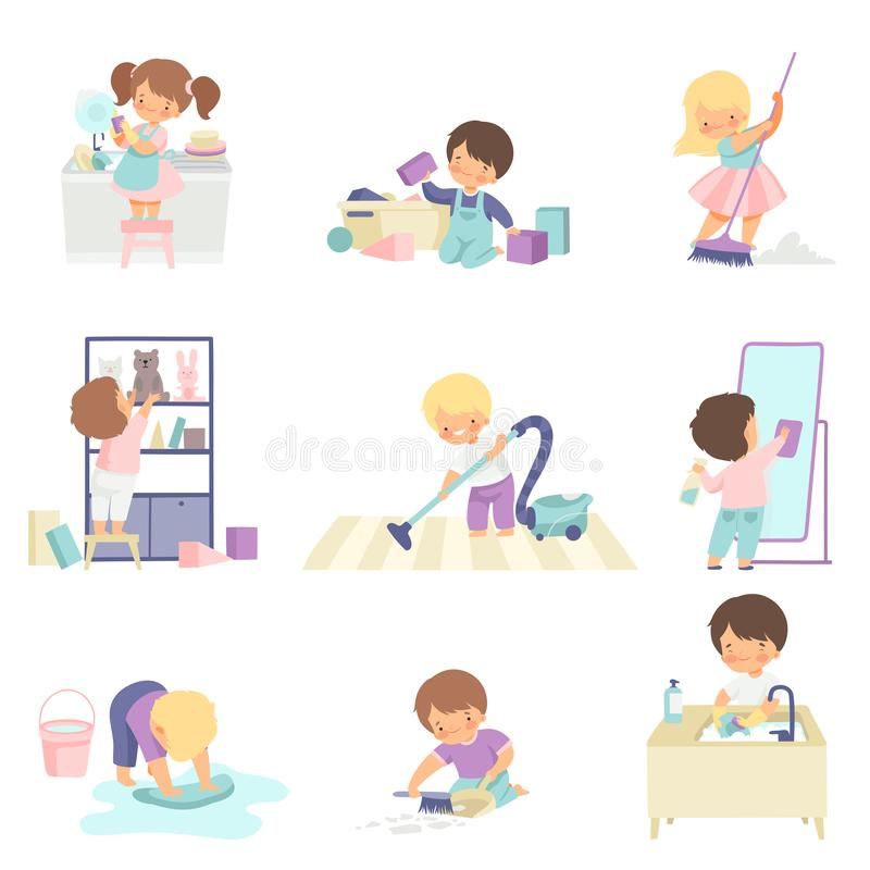 Cute Adorable Kids Doing Housework Chores at Home Set, Cute Little Boys and Girls Washing Floor, Dishes, Cleaning Up. Toys Vector Illustration on White stock illustration