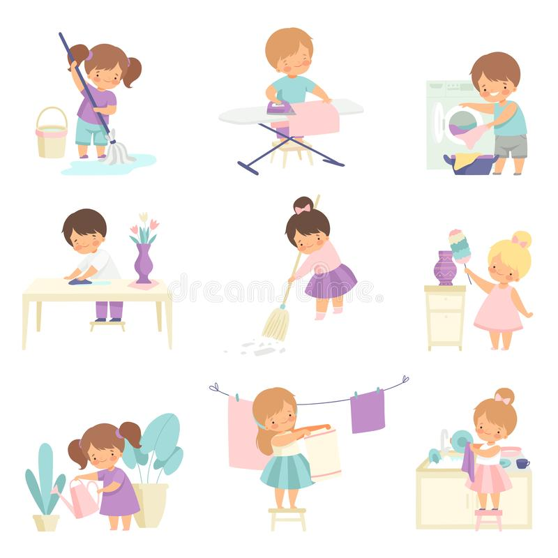 Cute Adorable Kids Doing Housework Chores at Home Set, Cute Little Boys and Girls Sweeping Floor, Ironing Clothes. Washing Dishes, Watering Houseplants Vector royalty free illustration