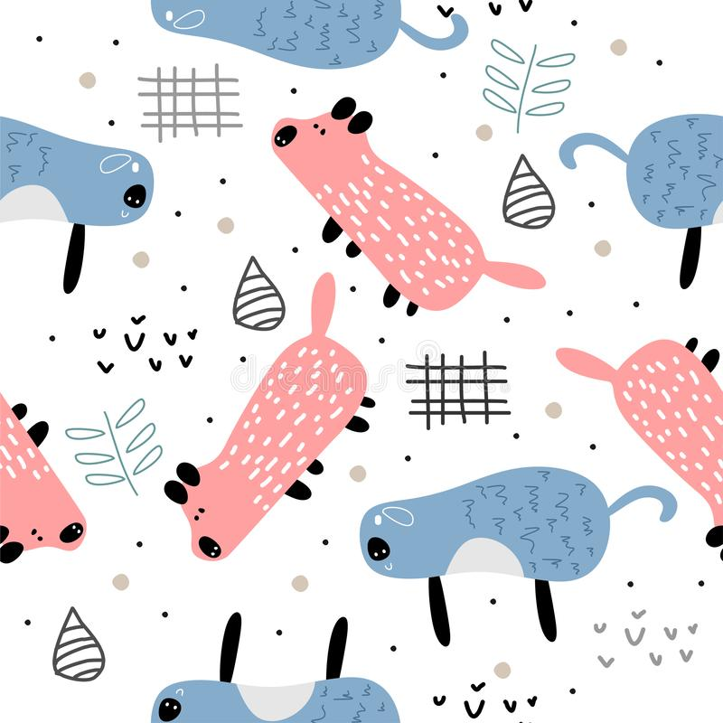 Cute adorable little pink pig head cartoon doodle seamless pattern background wallpaper vector scandinavian artistic drawing stock illustration