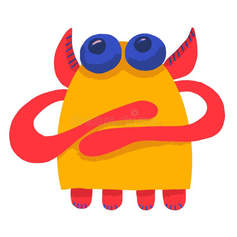 Cute adorable monster. Cute cartoon monster. Fantasy cartoon collection with yellow cute adorable monster on white background for stock illustration
