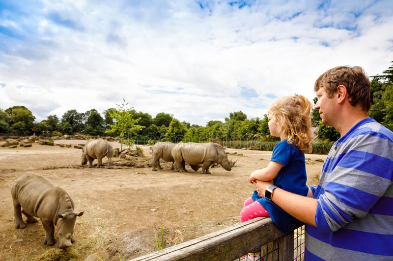 Cute adorable toddler girl and father watching rhinos in zoo. Happy baby child, daughter and dad, family having fun stock photo