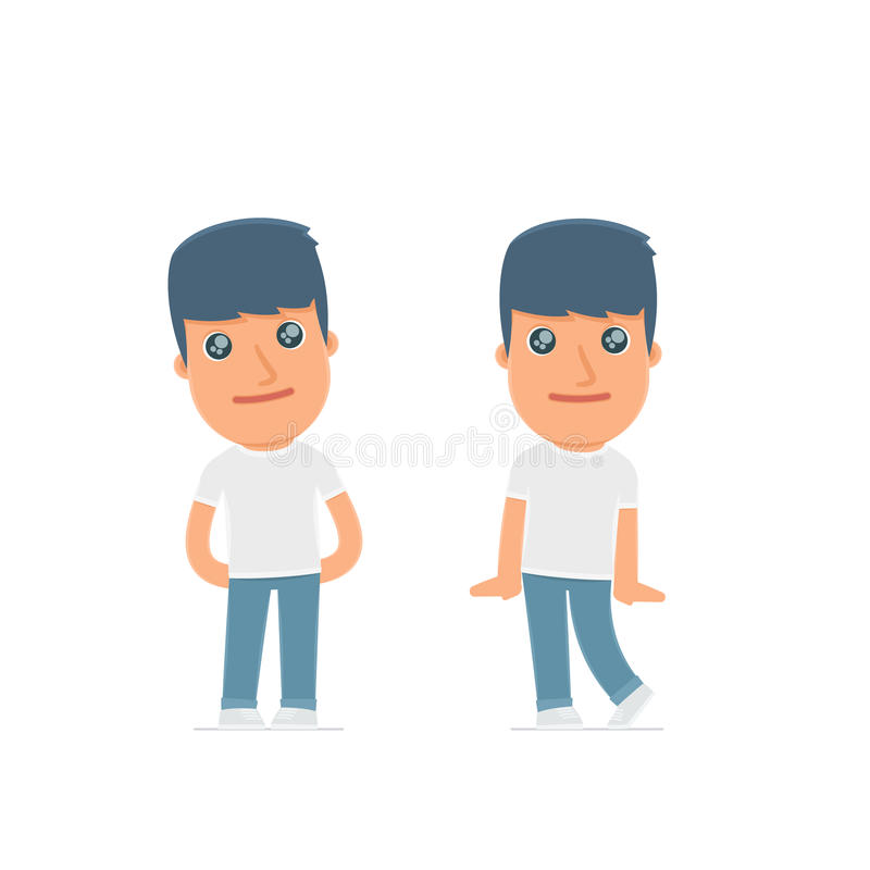Cute and Affectionate Character Activist in shy and awkward poses. For use in presentations, etc vector illustration