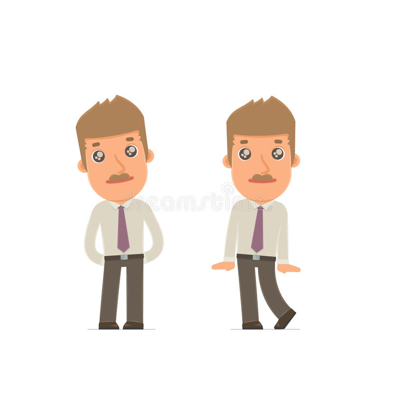 Cute and Affectionate Character Broker in shy and awkward poses. For use in presentations, etc vector illustration