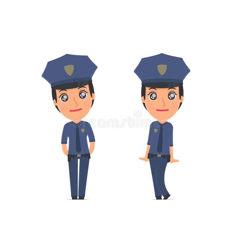 Cute and Affectionate Character Constabulary in shy and awkward. Poses. for use in presentations, etc stock illustration