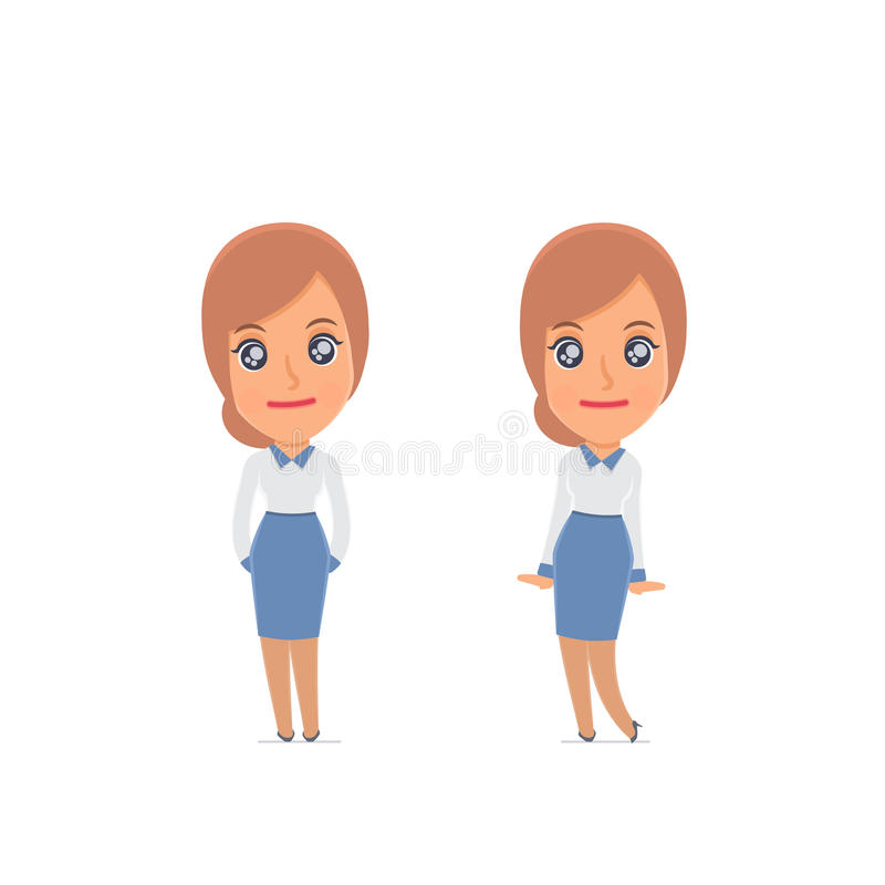 Cute and Affectionate Character Consultant Girl in shy and awkward poses. For use in presentations, etc royalty free illustration