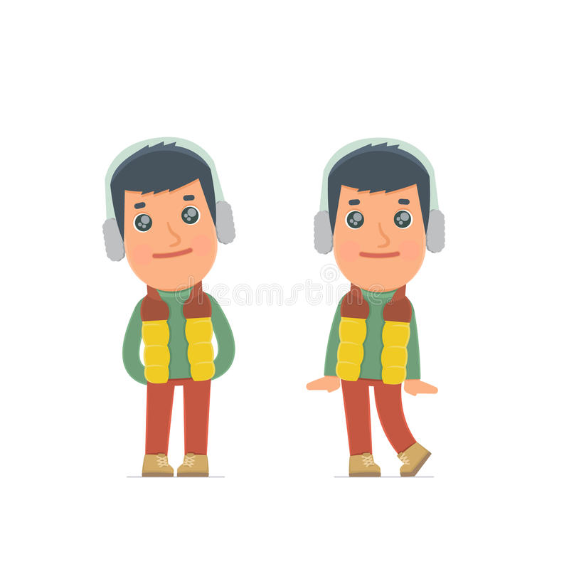 Cute and Affectionate Character Winter Citizen in shy and awkward poses. For use in presentations, etc royalty free illustration