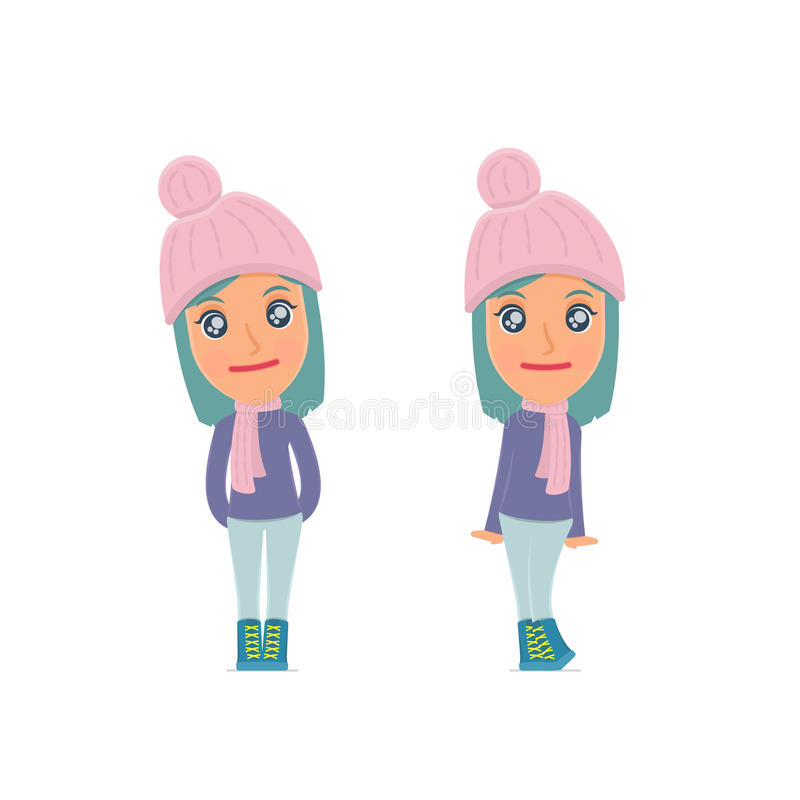 Cute and Affectionate Character Winter Girl in shy and awkward poses. For use in presentations, etc royalty free illustration