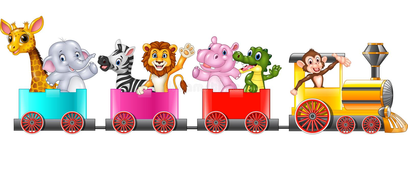 Cute africa animal on train stock illustration