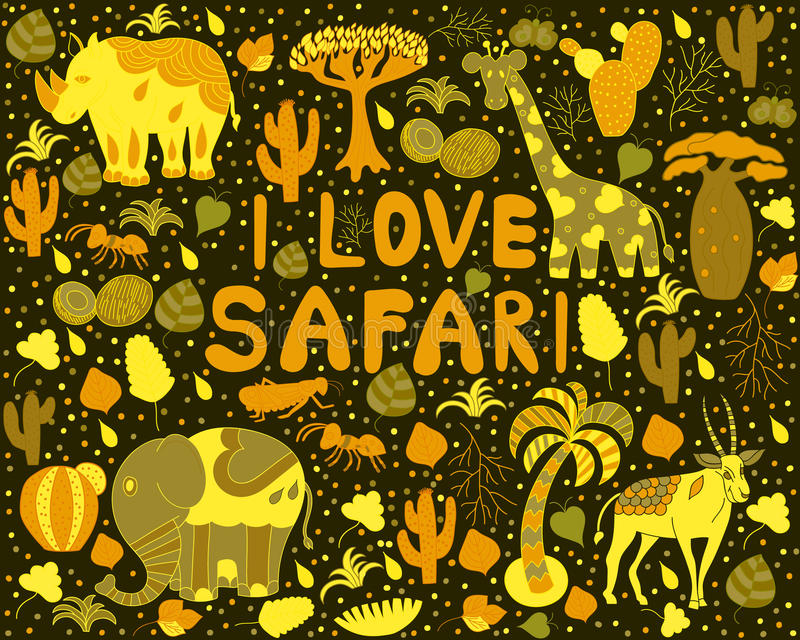 Cute Africa pattern with words. I love Safari with wild animals from savanna: giraffe, elephant, rhino, antelope. Vector background with insects butterfly vector illustration