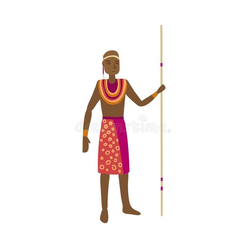 Cute african aborigine with colorful red clothes and long lance. Cute african aborigine with colorful red clothes and long wood lance. Flat style. Vector vector illustration