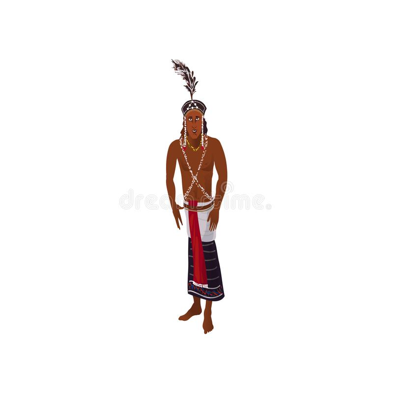 Cute african aborigine man with cute feather headwear. With colorful textile clothes. Cartoon style. Vector illustration on white background royalty free illustration