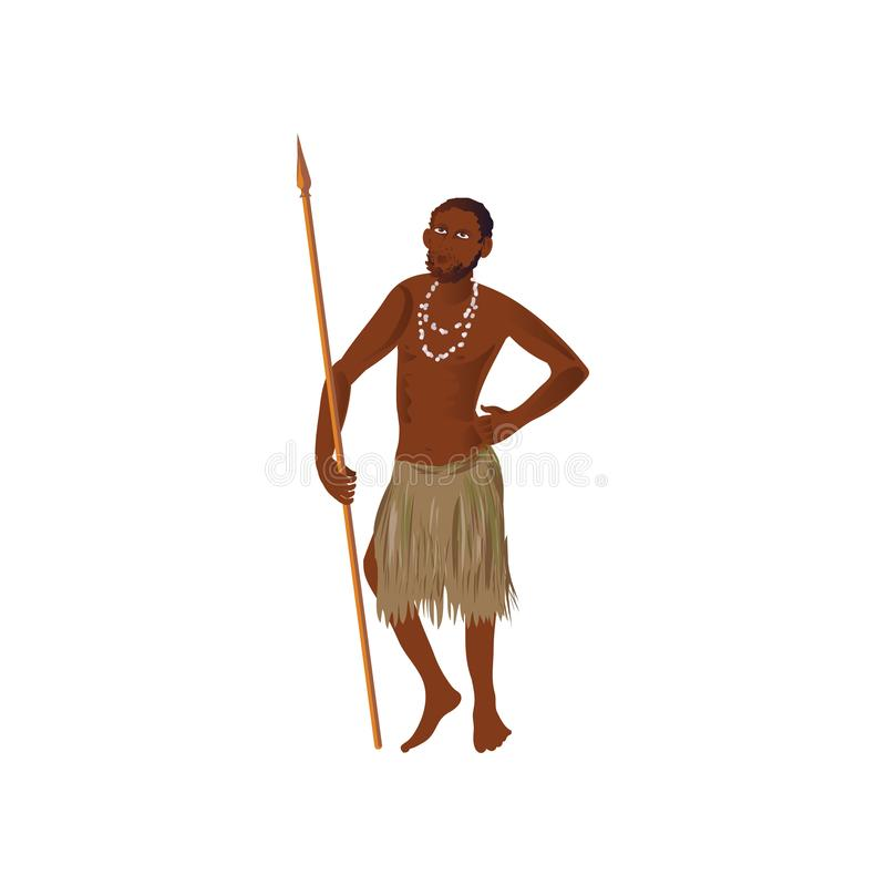 Cute african aborigine man with long spear and necklace. Cute african aborigine man with long spear and bone white necklace. Cartoon style. Vector illustration vector illustration