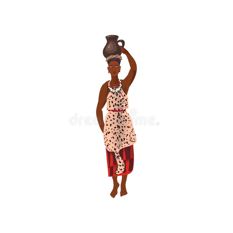 Cute african aborigine woman with ceramic water jug. On head. Cartoon style. Vector illustration on white background vector illustration