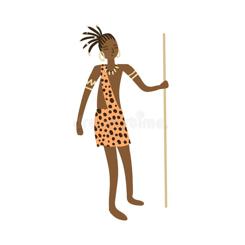 Cute african aborigine woman hunter in tiger clothes with long lance. Cute african aborigine woman hunter in tiger clothes with long metal wood lance. Flat style vector illustration
