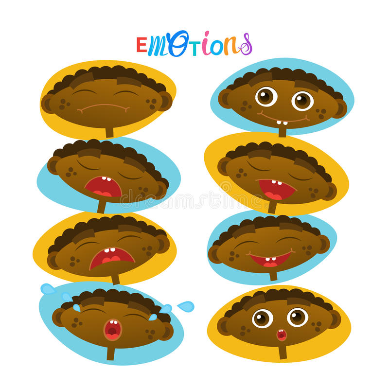 Cute African American Baby Boy Emotions Set Toddler Face Collection Cartoon Infant. Flat Vector Illustration royalty free illustration
