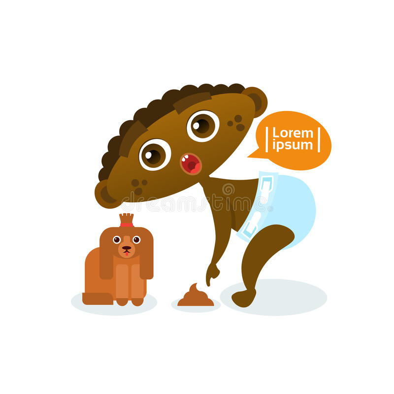Cute African American Baby Boy Playing With Dog Toddler Happy Cartoon Infant In Diaper. Flat Vector Illustration stock illustration