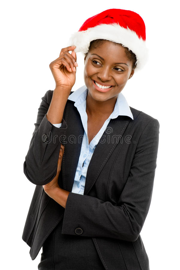 Cute African American businesswoman making a wsih stock photos