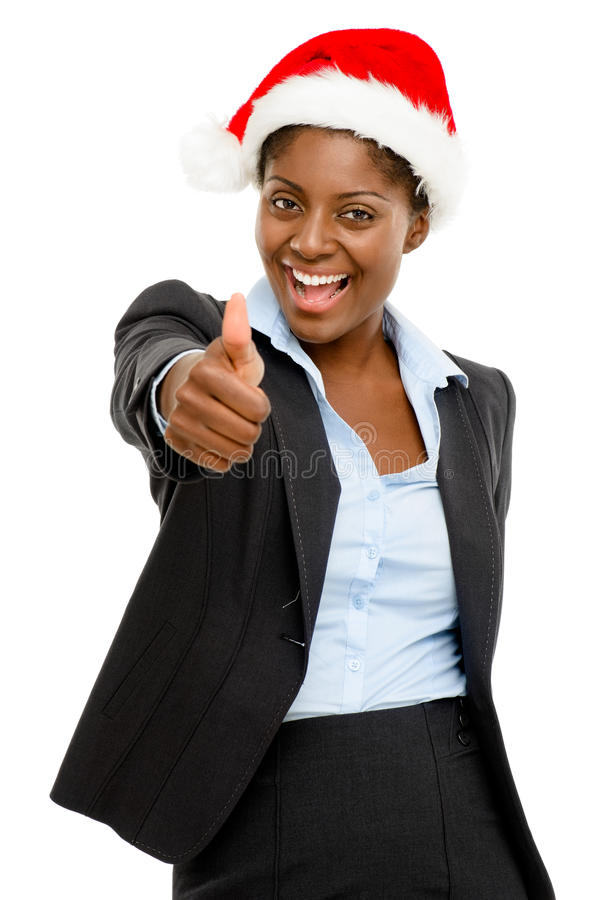 Cute African American businesswoman thumbs up sign wearing Chris royalty free stock photos