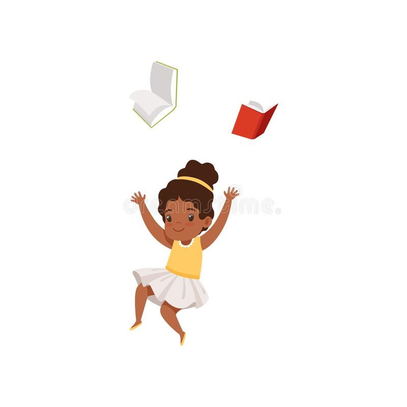 Cute african american girl having fun with book, elementary school student playing and learning vector Illustration on a royalty free illustration
