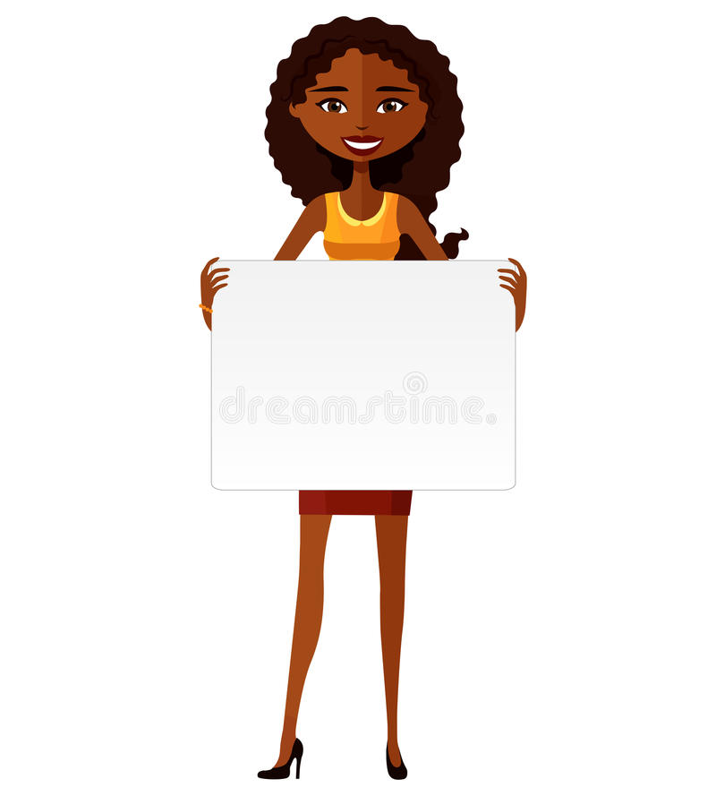 Cute African American girl holding board cutout flat cartoon vector illustration. royalty free stock images