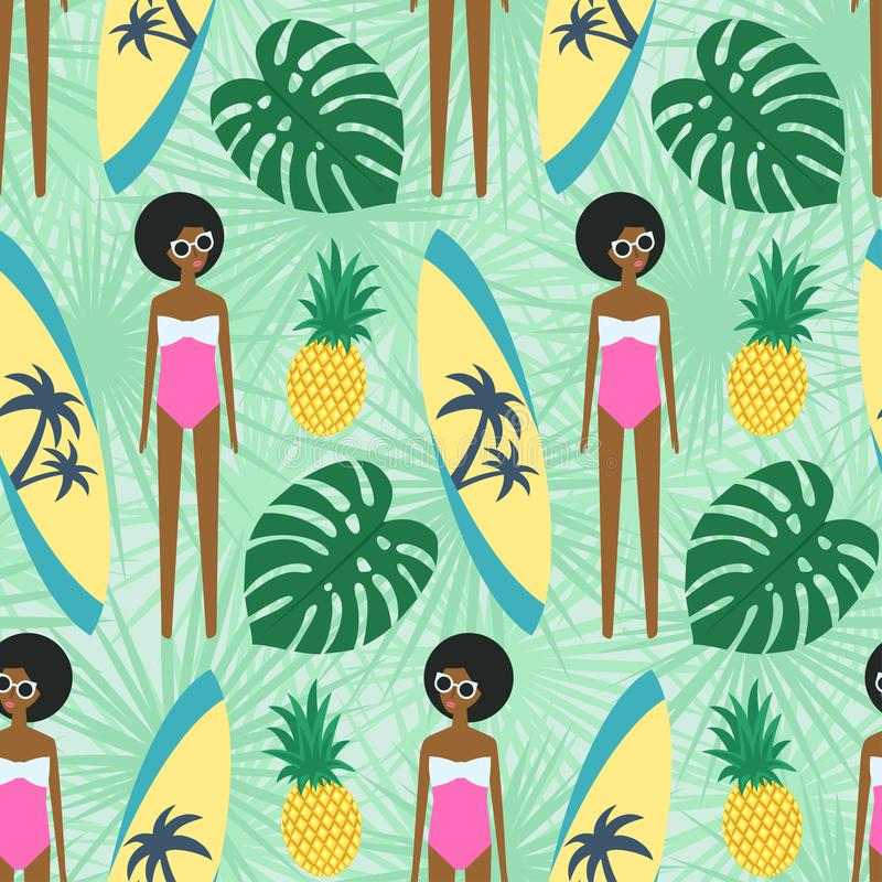 Cute african american girl with surfboard, pineapple and palm leave seamless pattern. stock illustration