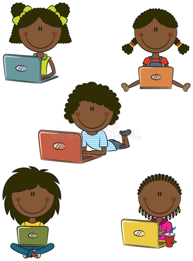 Cute African-American Girls With Laptops Stock Photos