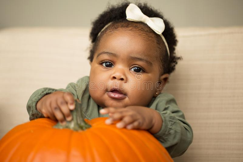 Cute African American little girl holding a pumpkin. stock image