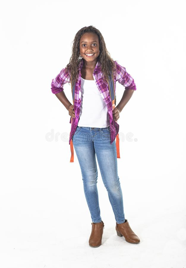 Cute African American school girl with backpack isolated on white royalty free stock images