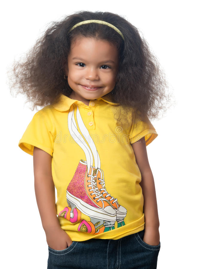 Cute african american small girl smiling stock photos