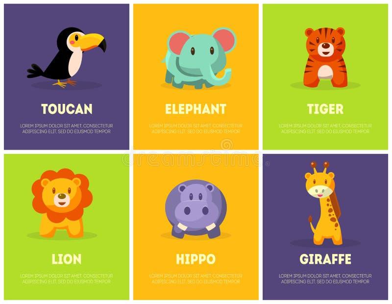 Cute African Animals Banners Set, Toucan, Elephant, Tiger, Lion, Giraffe, Hippo Vector Illustration stock illustration