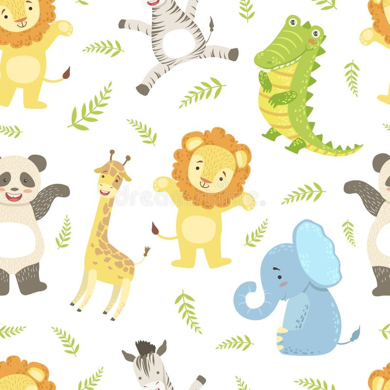 Cute African Animals Childish Seamless Pattern, Giraffe, Lion, Elephant, Crocodile, Panda bear, Zebra, Design Element. Can Be Used for Textile, Wallpaper royalty free illustration