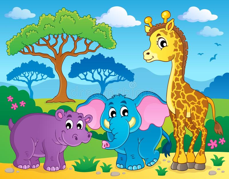 Cute African animals theme image 1 royalty free illustration