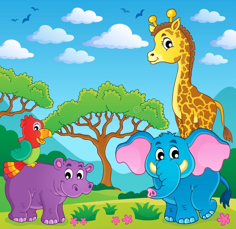 Cute African animals theme image 5 royalty free illustration