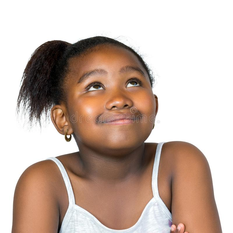 Cute african girl looking up isolated. royalty free stock photos