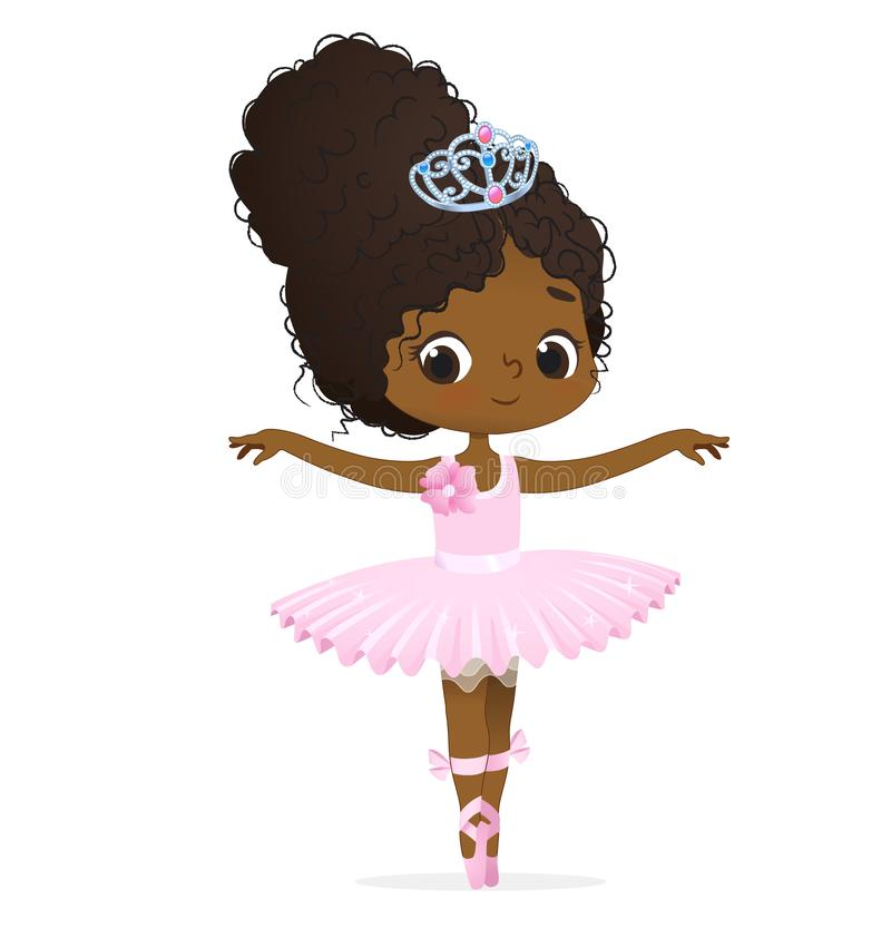 Cute African Pink Princess Girl Ballerina Dance. Isolated. Afro Ballet Dancer Elegant Baby Character Modern Action. Candy Doll wear Tutu Dress and Diadem royalty free illustration