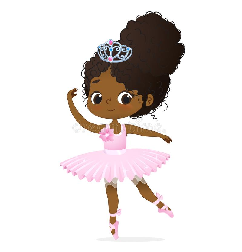 Cute African Princess Girl Ballerina Dance Isolated. Afro Ballet Dancer Sweet Baby Character Jump Action. Elegant Doll. Wear Pink Tutu Dress and Tiara. Training stock illustration