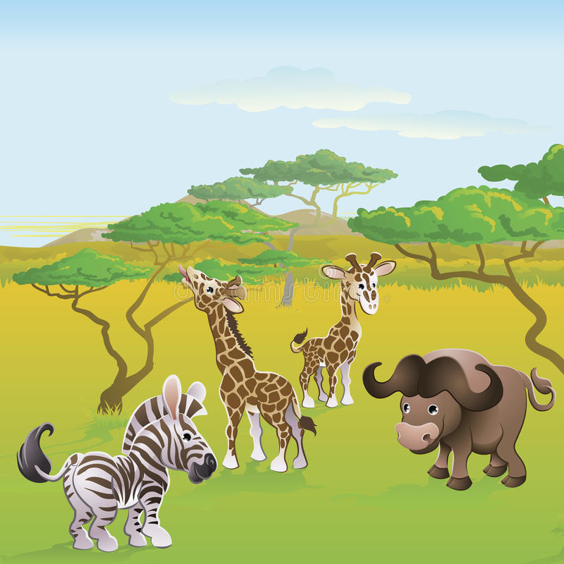 Cute African safari animal cartoon scene royalty free illustration