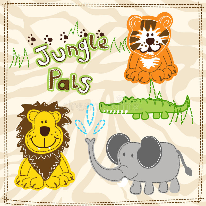 Cute African wild animals embroidery illustrations vector illustration