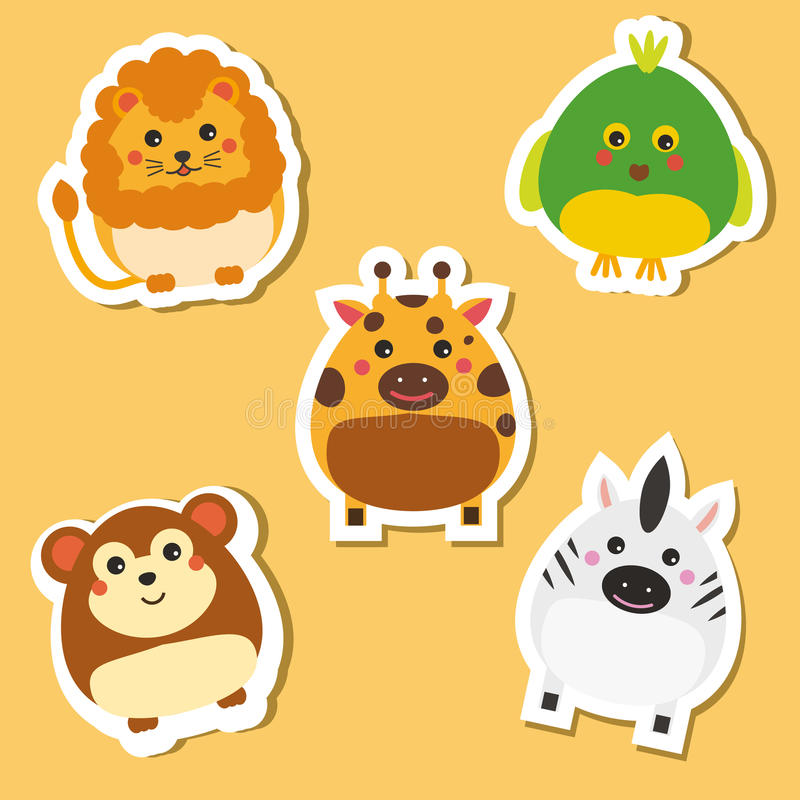Cute african wild animals. Stickers set. Vector illustration. Lion, parrot, zebra royalty free illustration