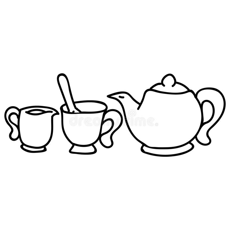 Free Cute Afternoon Tea Set, Teacup, Teapot, Clipart. Hand Drawn Breakfast Drink Kitchenware. Porcelain Domestic Crockery Lineart In Royalty Free Stock Photography - 170022887