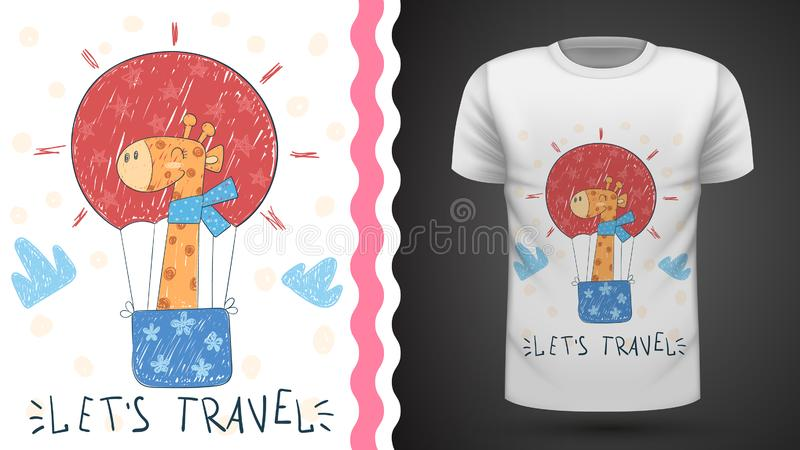 Cute air balloon - idea for print t-shirt vector illustration