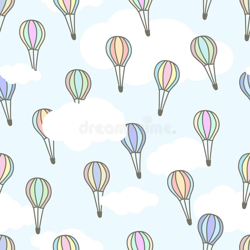 Cute air baloons of different colors flying in the light blue sky with white clouds. Cartoon vector illustration royalty free illustration