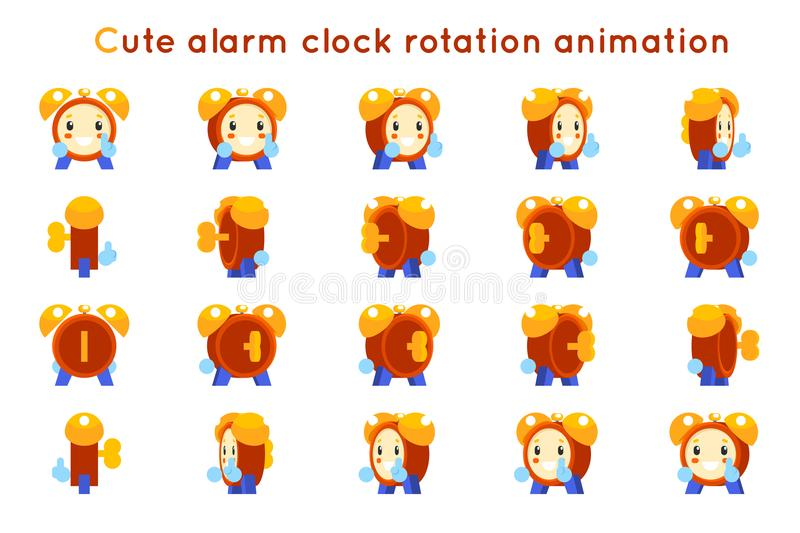 Cute alarm clock child ticker kid character icons rotation animation symbols frames set isolated flat design vector vector illustration