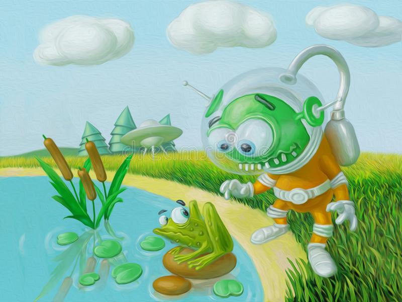 Cute alien flew to the planet earth and met the frog stock photography