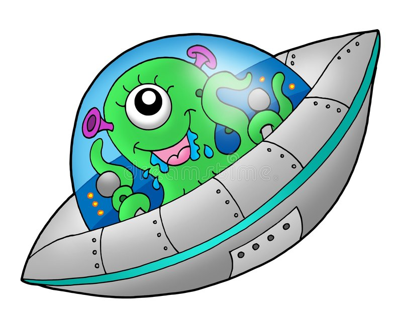 Cute alien in spaceship. Color illustration royalty free illustration