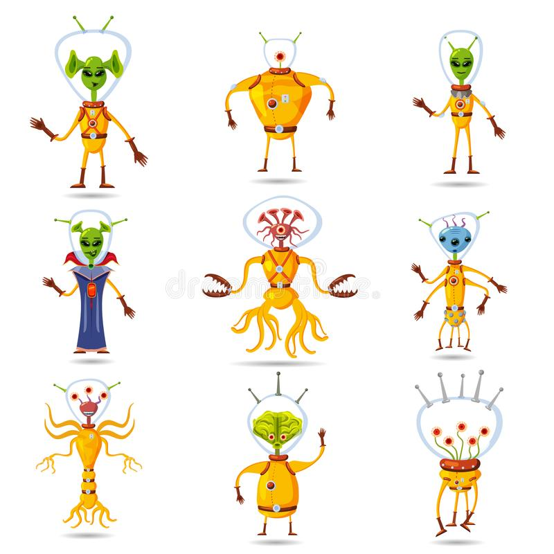 Cute Aliens In Space Suits, Spaceship Crew Cartoon Characters, vector, isolated. Cute Aliens In Space Suits, Spaceship Crew Cartoon Characters royalty free illustration