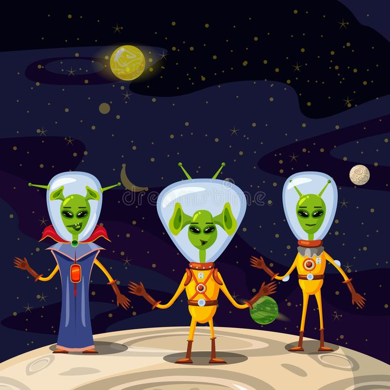 Cute Aliens In Space Suits, Spaceship Crew Cartoon Characters In space, vector, isolated. Cute Aliens In Space Suits, Spaceship Crew Cartoon Characters In space vector illustration