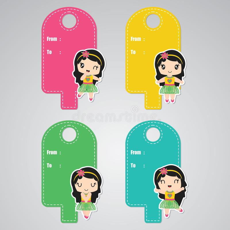 Download cute aloha girl custom vector cartoon illustration for birthday gift tags design stock illustration